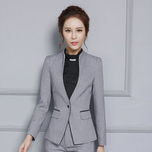 2016 New female elegant pant suits OL formal work wear women's long sleeve blazer with Trousers office plus size suit Gray black