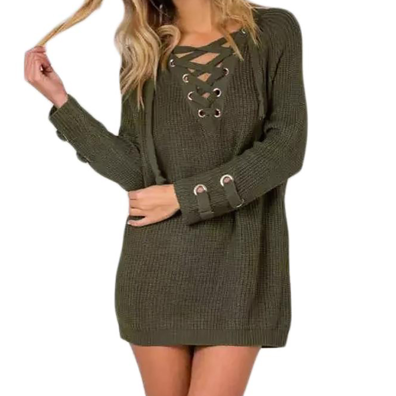 Lace Up Knitted Sweater Plus Size Bandage Pullover 2017 Winter Autumn Women V Neck Long Knitwear Jumper Casual Sexy Tops GV896