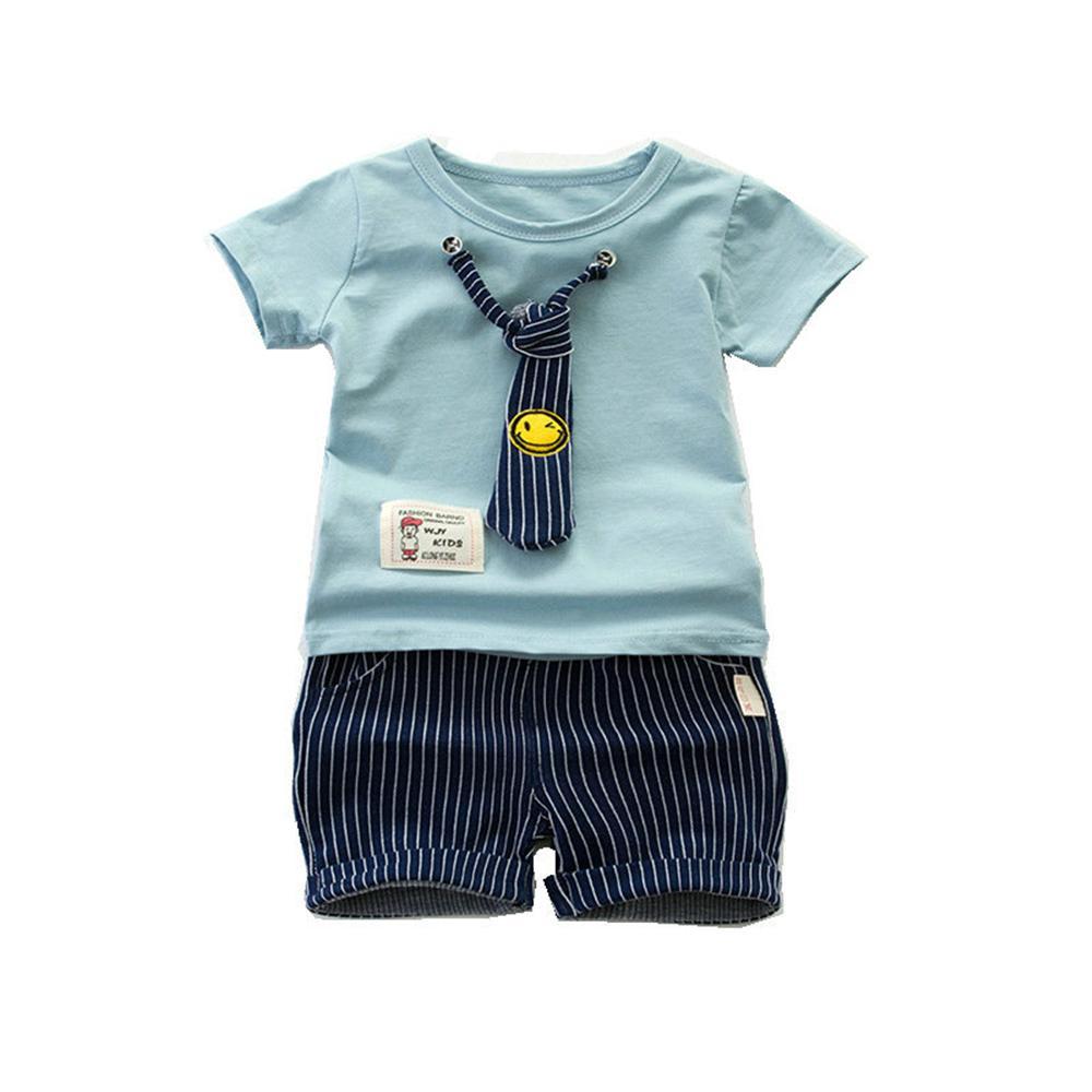 2018 для маленьких мальчиков одежда новый летний хлопковый галстук для маленьких мальчиков Комплекты комплект из 2 предметов, футболка + шорт... ...