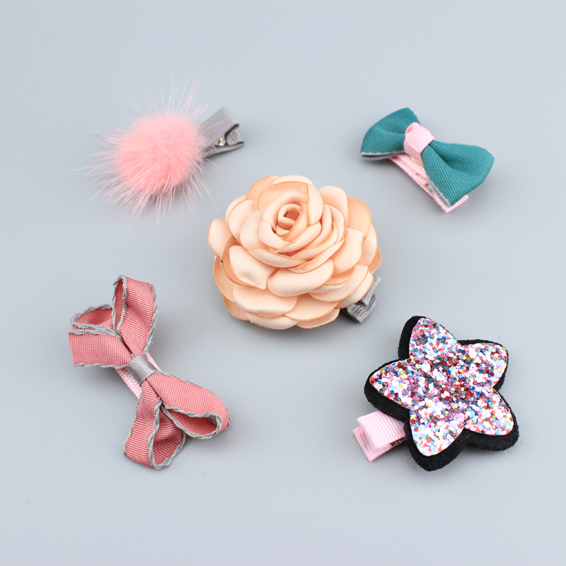 5 Pcs/ Set girls flowers hair clips cartoon hairpins toddlers kids Animal Bow SAFE Barrettes Hair Accessories Flower gift set L1