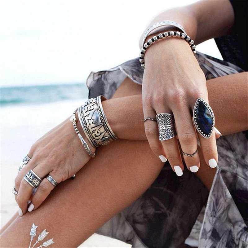 Sindlan Ring New Vintage Bohemian Rhinestone Totem Rings Punk Style Antique Carved X Shape Boho Knuckle Finger Ring For Women
