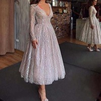 2019 New Sequined Evening Gowns Deep V Neck Short Prom Formal Dresses Long Sleeve Abiye Women Robe de soiree Party Dress