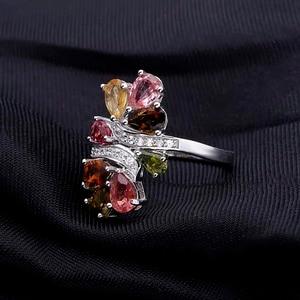 Image 3 - פנינה של בלט טבעי טורמלין 925 סטרלינג כסף טבעות לנשים טרנדי רומנטי פרח חתונת אירוסין תכשיטי Accessorie