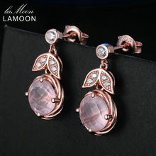 LAMOON 8mm 100% Natural Pink Rose Quartz 925 Sterling Silver Jewelry Rose Gold Plated Drop Earrings S925 LMEI008