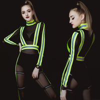 Women Sexy Stage Bar Ds Costume Nightclub Hip Hop Female Singer GOGO Leading Dance Jumpsuit Jazz Dance Costumes