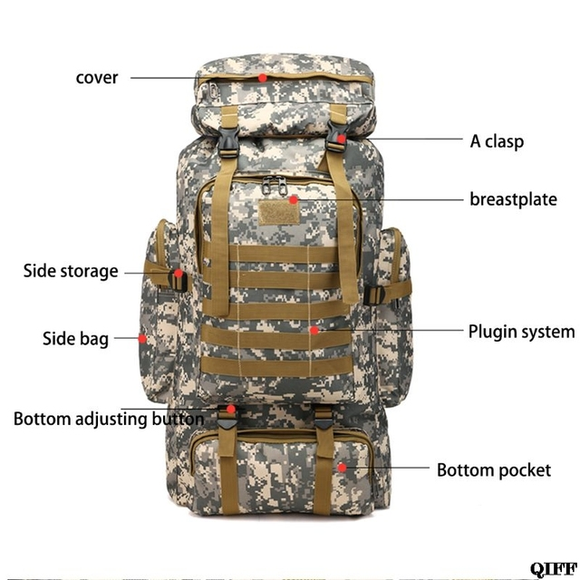 80L Large Camo Rucksack Backpack Hiking Tactical Military Camping Survival Gear 5
