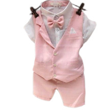 2016 Fashion Baby Boy Clothing Sets Plaid Vest+Short Sleeve Blouse+Shorts 3pcs Set Lovely Toddler Formal Suits Children Clothes
