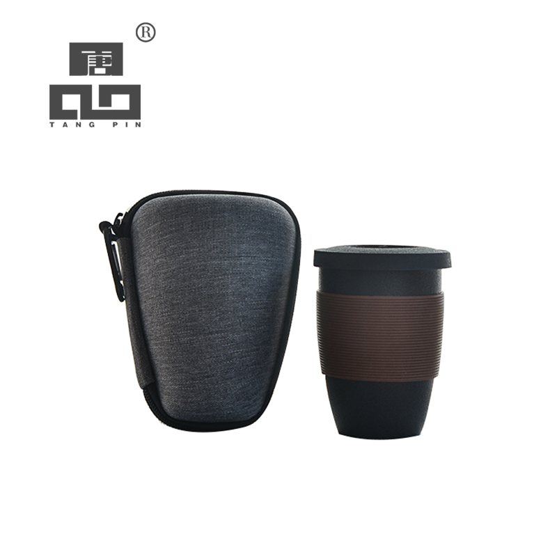 TANGPIN Black Crockery Ceramic Tea Mugs With Filters Ceramic Teapot Teacup Portable Travel Mug 170ml
