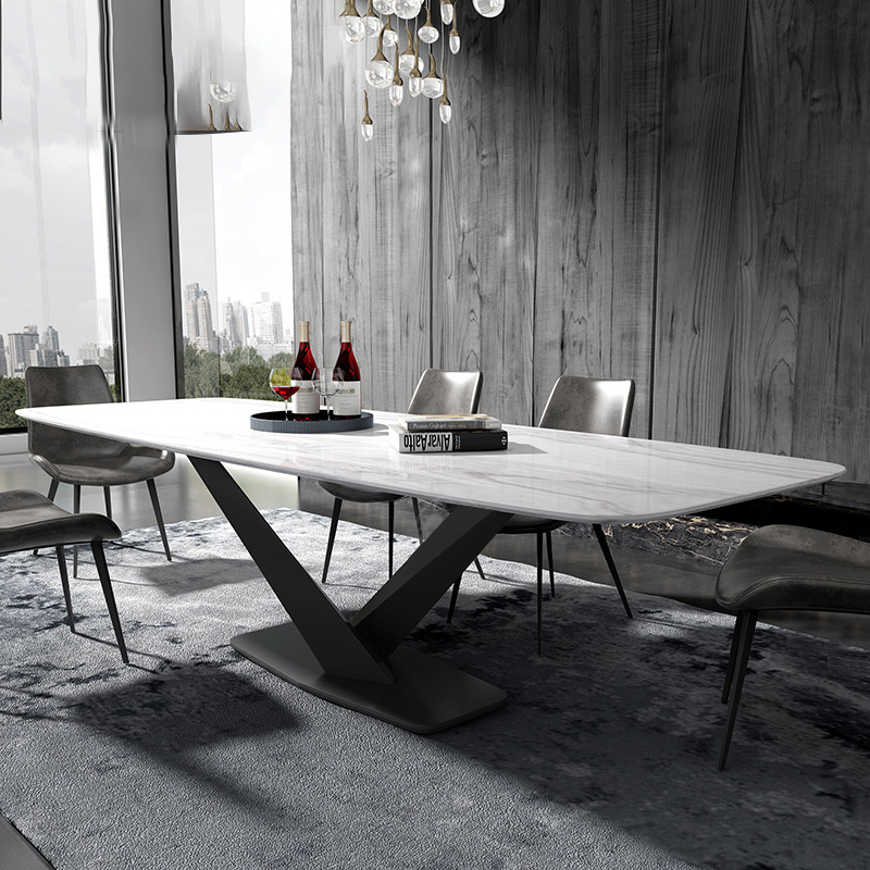 Iron Metal Dining Room Set Home Furniture Minimalist Modern Marble Dining Table Rectangle Big Mesa De Jantar Muebles Comedor