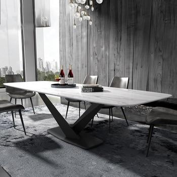 iron metal Dining Room Set Home Furniture minimalist modern marble dining table rectangle big mesa de jantar muebles comedor