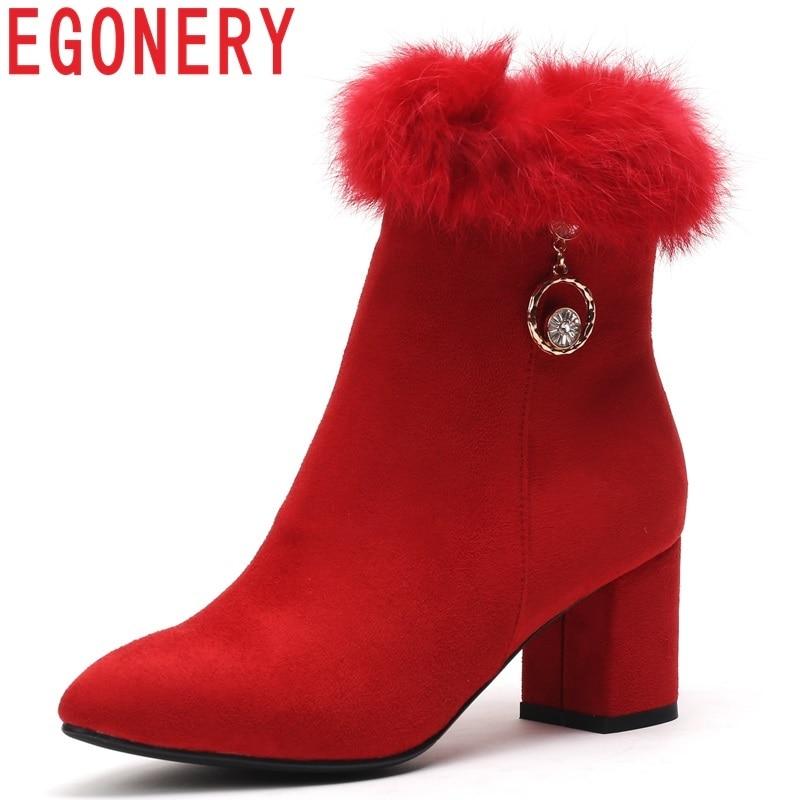 Donne Egonery Da Stivali Scarpe Quadrato Sexy Red Donna 2018 Caviglia  Decorazione Pelliccia Della Di Punta Inverno Sposa ... 0868c0c13c2