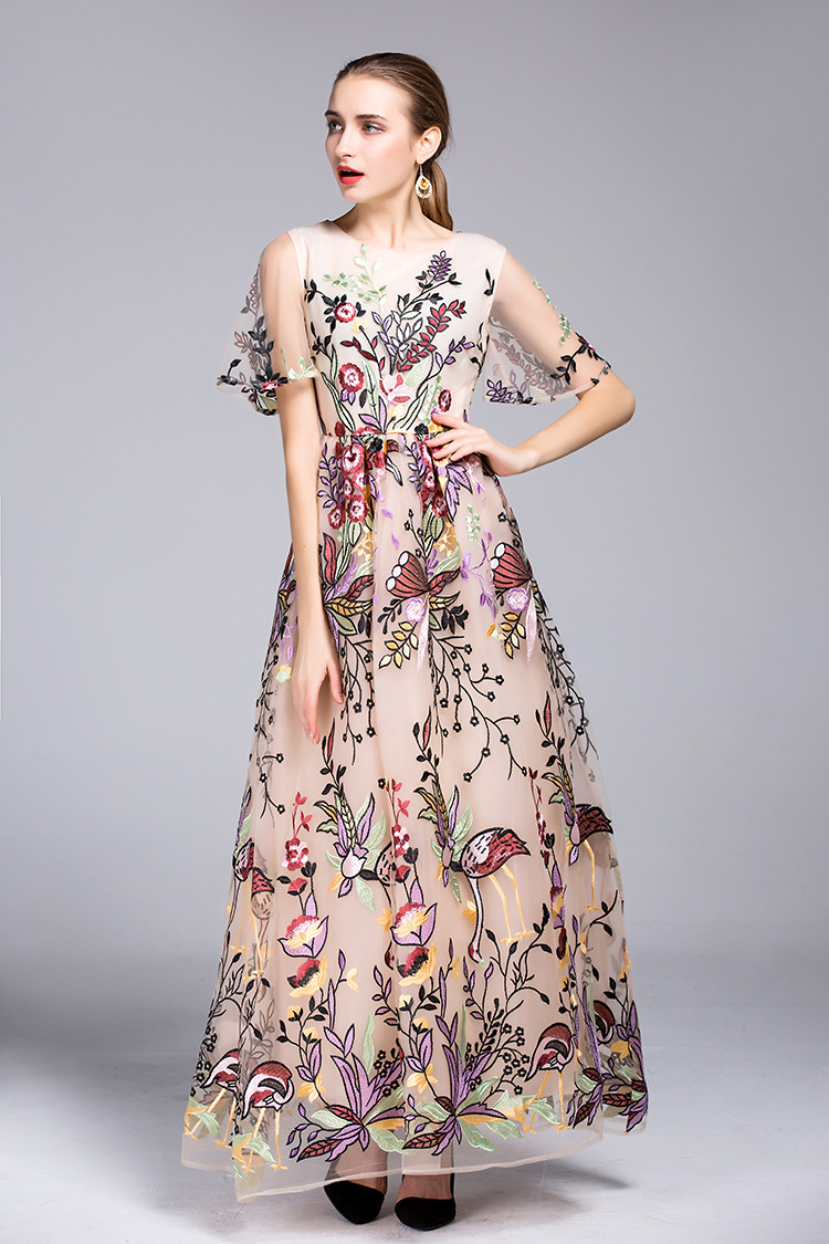 Luxury long mesh party font b dress b font 2016 Fall winter Runway embroidered ball gown