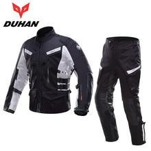 DUHAN Professional Men Motorcycle Touring Travel Riding Jacket Pants Sets Waterproof Motocross Off-Road Racing Raincoat Clothing