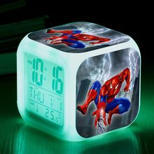 Herói da Marvel The Avengers Spiderman LED Flash color Digital Relógio Despertador wekker 7 Toy Kids reveil reloj despertador Relógios(China)