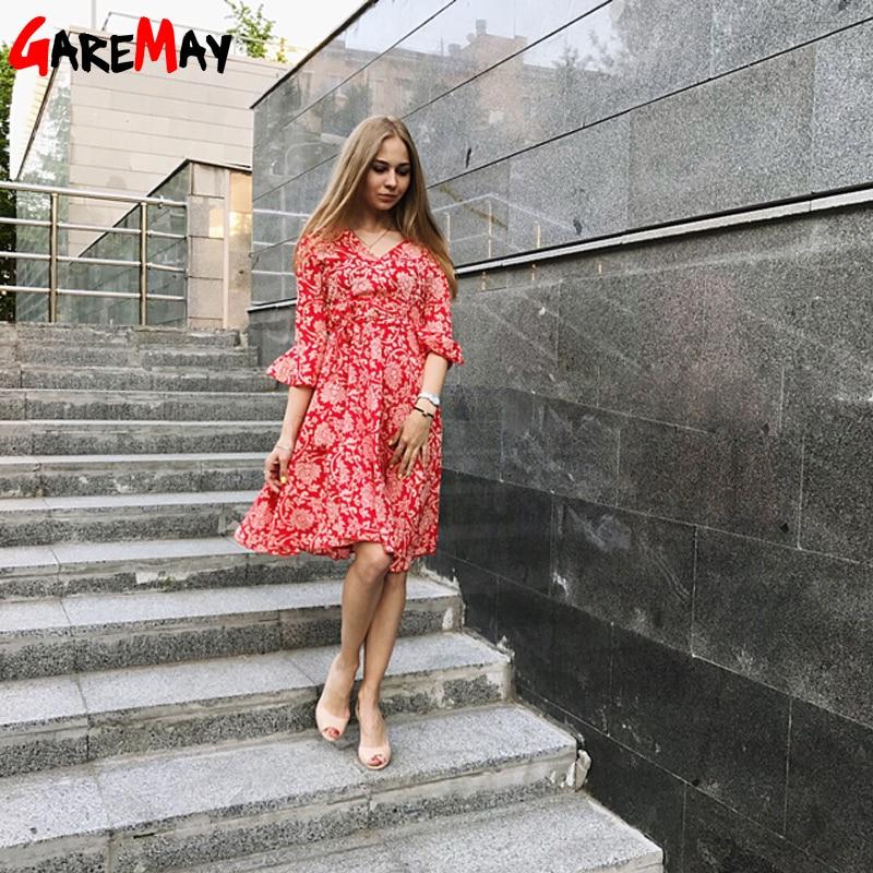 Garemay Autumn Beach Flower Print Swing A Line Dámské šaty - Dámské oblečení