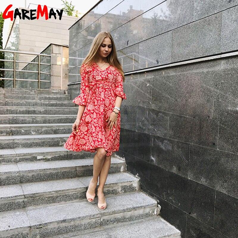 Garemay Autumn Beach Blumendruck Swing A Line Frauenkleid Rot Sexy - Damenbekleidung