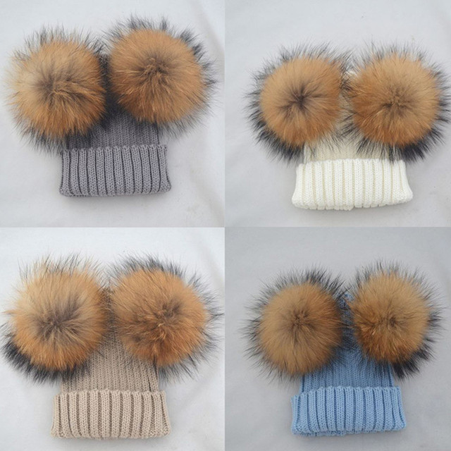 a699910e1a1fe Kids Winter Boys Girls Hat Double Fur Pom Pom Beanie Caps Wool Knitted Hat  For Baby Warm Pompom Raccoon Ball Beanie Cap Bonnet