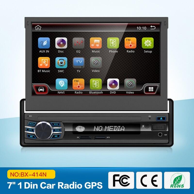 Voiture Radio Stéréo Lecteur Bluetooth Téléphone AUX-IN MP3 FM/USB/1 Din/à distance android 6.0 Dans- dash écran rétractable