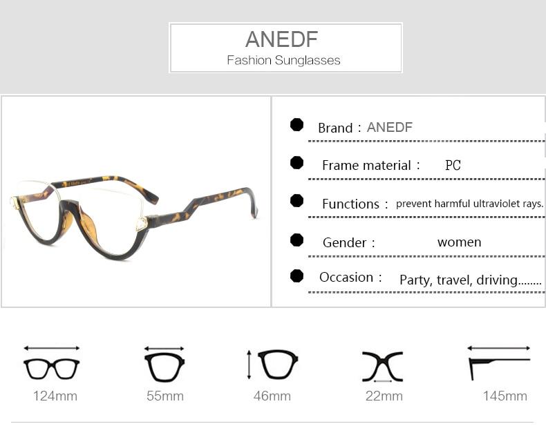 292845ab2 ANEDF 2018 أحدث موضة القط العين إطار نظارات شمسية عالية الجودة ...
