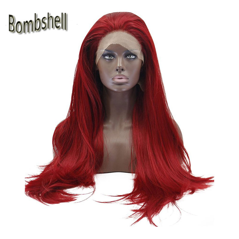 Bombshell Handmade Synthetic Lace Front Wig Glueless Long Straight Red Heat Resistant Fiber Natural Fully Hair