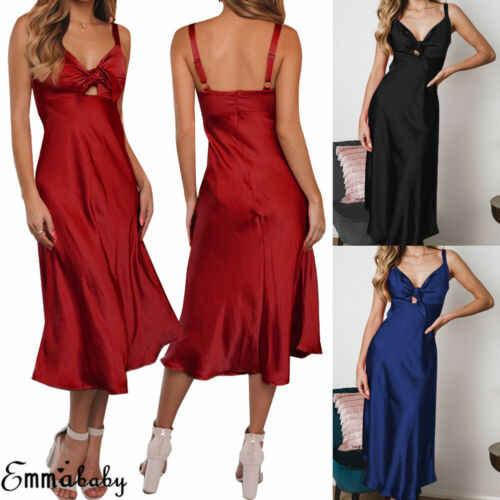 2019 сексуальное женское вечернее платье без рукавов с v-образным вырезом, шелковая атласная пижама, длинные халаты, Ночная одежда, платье черного, синего, розового, Красного PurpleS-2XL
