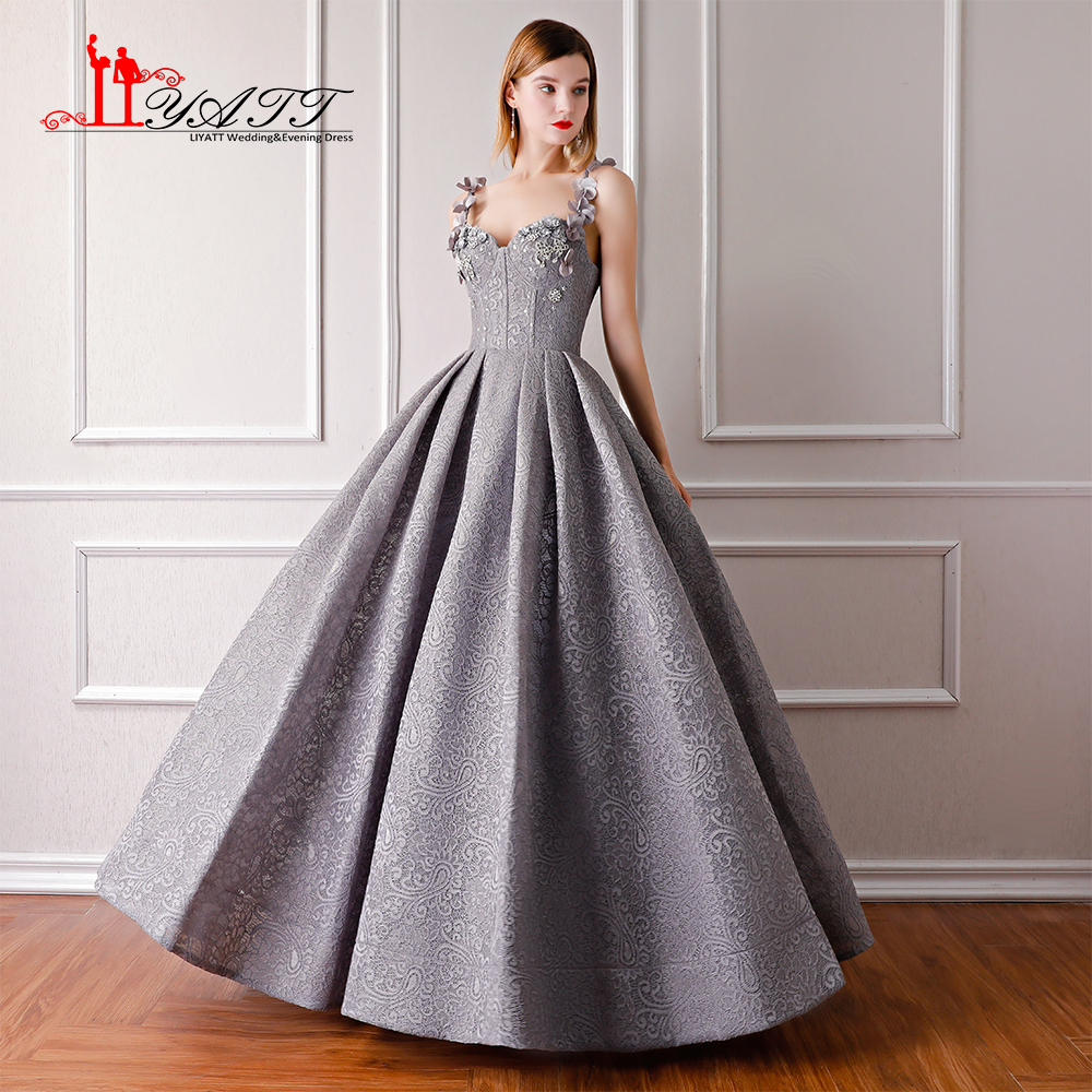 2018 New Arrival Grey Lace 3D Flower Amazing Ball Gown