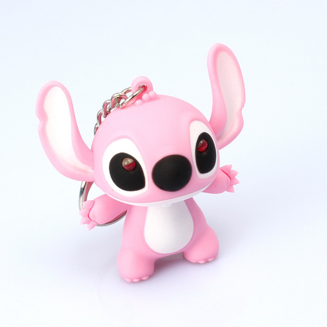 Lilo stitch LED Flashlight Keychain with Sound cute keychains gift music keychain sound keychains free shipping MHK002