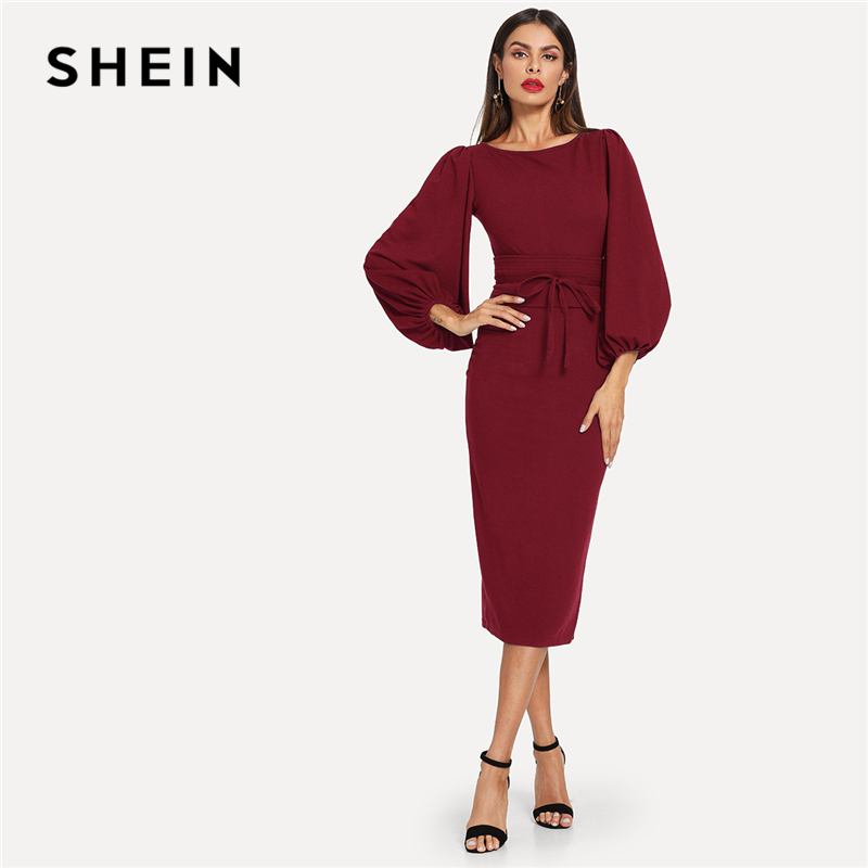 58396880c2 Detail Feedback Questions about SHEIN Burgundy Elegant Office Lady Tie  Waist Long Lantern Sleeve Natural Waist Solid Dress Autumn Women Streetwear  Dresses ...
