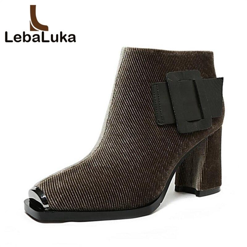 Lebaluka Karree High Echt 40 Schnalle Kurze Frau khaki Schuhe 33 Winter 2 black 1 Zipper Größe Heels Black Frauen Leder Stiefel Stiefeletten rzf5rwq