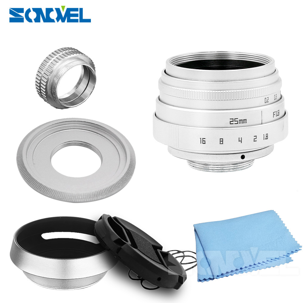 Silver 25mm F1.8 APS-C CCTV Lens C Mount+Hood For Olympus Panasonic Micro 4/3 M4/3 G7 G10 GH3 GH2 GH1 GX1 GF6 GF3 EPL5 EPM1 25mm f1 4 cctv lens macro rings c m4 3 adapter ring set for olympus panasonic camera silver