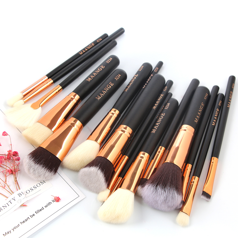 MAANGE Pro 15Pcs Luxury Complete Cosmetic Makeup Brushes Set Beauty Make Up Tools Kit Powder ...