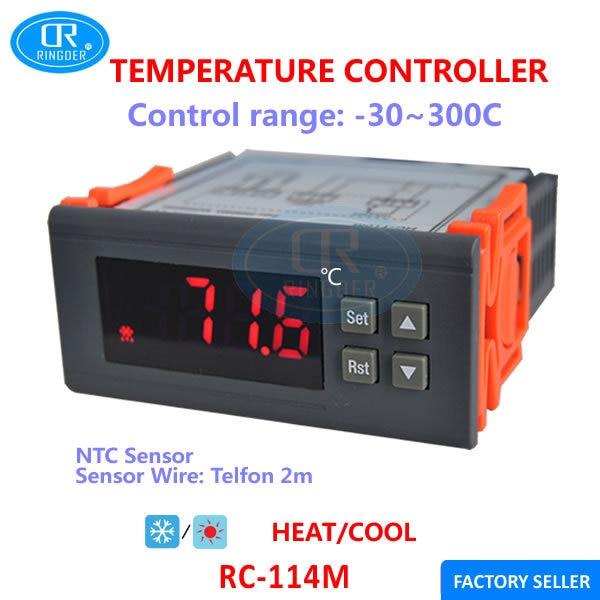 RINGDER RC-114M com Sensor NTC-30 ~ 300C Calor Legal NO Switch OFF para Todos Os Fins Controlador Regulador de Temperatura Digital termostato