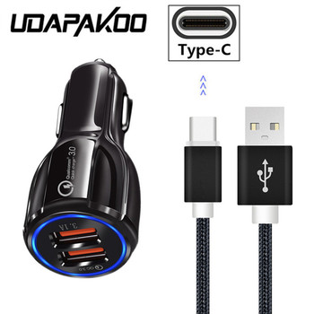 For Xiaomi Mi 8 SE Max 2 3 Short Type C USB Wire For Samsung galaxy Note 9 8 S8 A5 2017 A9 Star QC 3.0 Fast car charger adapter