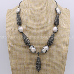 Image 2 - Hot! Bohemia necklace Natural pearl handcrafted druzy necklace & natural 2mm hematite necklace black drop shape bead pendant 700
