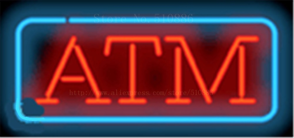 17*14 ATM NEON SIGN REAL GLASS BEER BAR PUB LIGHT SIGNS store display Restaurant Shop financial business Advertising Lights image