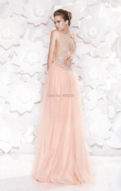 Tempting elegante cuello O Pink una línea de tul Elie Saab piso ...