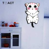 Swing Wall Clocks Mute Modern Design Cartoon Wall Clock For Children's Room Creative Cat Hanging Watches Accessories