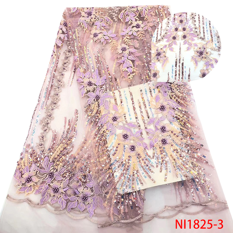 French Lace Fabric 2019 Latest African Sequins High Quality Nigerian Embroidered Tulle Fabric With Beads For Dress KSNI1825-3