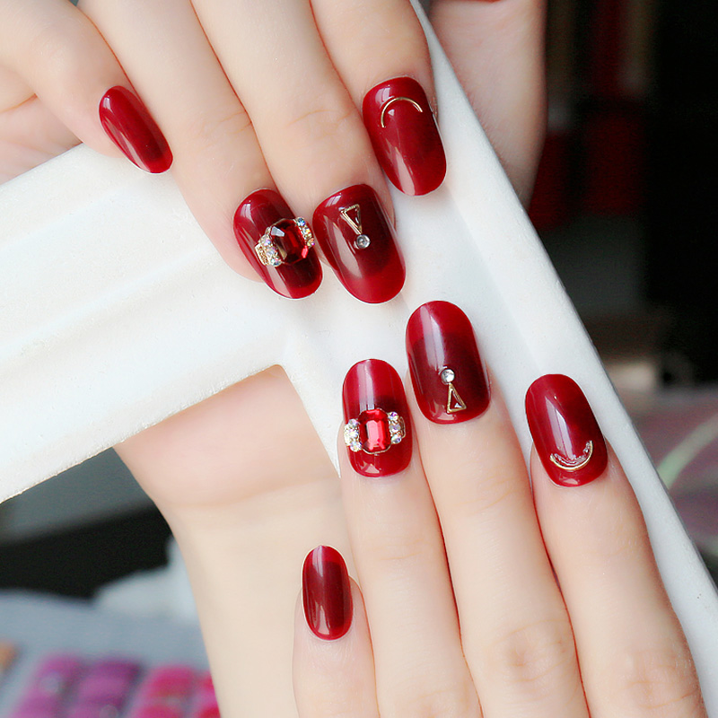 24pcs Short False Nails Rhinestones Red Adhesive Press On