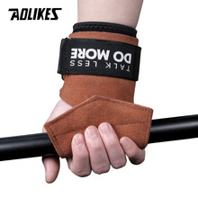 AOLIKES 1Pair Cowhide Hand Grips Gymnastics Glove Grips Anti