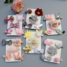 New 5pcs kids girl handmade hair Accessories flower Bowknot Hairpin children star Cartoon crown hair clips Barrette headwear T1