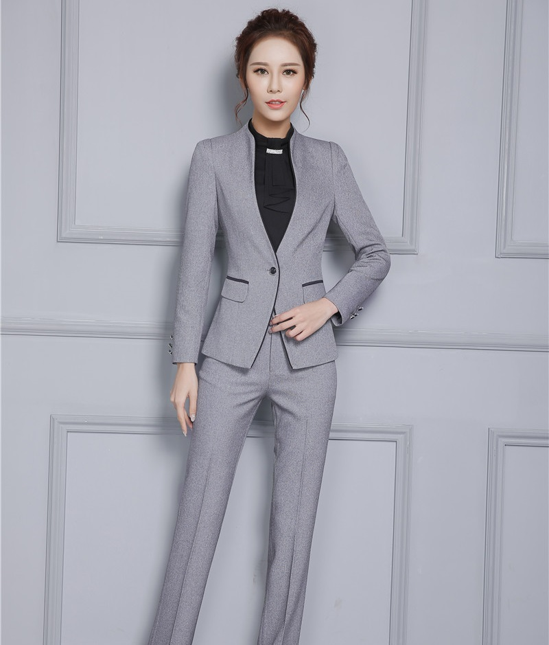 New Arrival Formal Elegant Gray Female Pantsuits With Jackets And Pants Professional Autumn Winter Office Ladies Trousers Sets