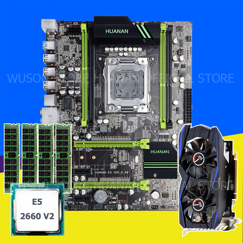HUANAN V2.49 X79 motherboard CPU RAM combos set with video card Xeon E5 2660 V2 (4*8G)32G DDR3 REG ECC GTX960 4GD5 Video card huanan x79 motherboard diy set cpu xeon e5 2680 v2 ram 32g 4 8g ddr3 recc 500watt psu video card gtx1050ti 240g sata3 0 ssd