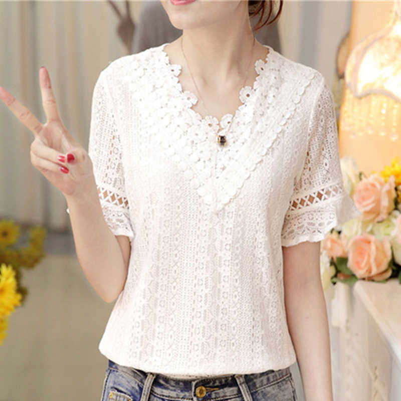 Summer White Lace Blouse Women Shirt Short Sleeve Chiffon Blouses V Neck Patchwork Hollow Out Flare Sleeves Blusas Feminina New