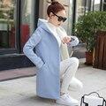 Primavera e no inverno casaco de lã com capuz feminino estudantes Coreanos longa seção 2017 novas mulheres grossas de inverno casaco de lã