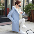 Spring and winter hooded woolen coat female long section 2017 new women Korean students thick winter woolen coat