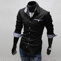 2017 New Brand Mens Shirts Regular Fit 3 Colors Plaid Patchwork Shirts Men Plus Size Mens