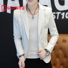 Fall 2018 new tide male pure color blazer Cultivate one's morality of PU leather fashion young single blazer