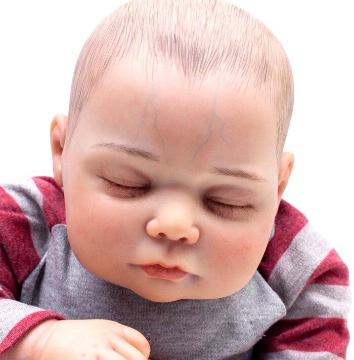 20 polegada reborn silicone bebê pintados à mão para o cabelo recém-nascidos de vinil Boneca de Silicone Macio Bonito da criança crianças casa de jogo do presente boneca para venda