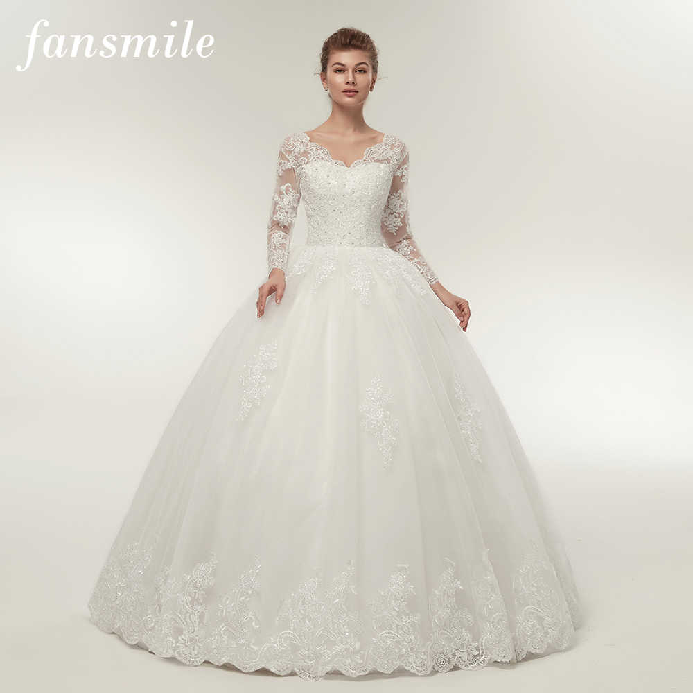 Fansmile Quality Vintage Lace Up Wedding Dresses Long Sleeve 2019 Customized Plus Size Bridal Ball Gown Robe de Mariage FSM-140F